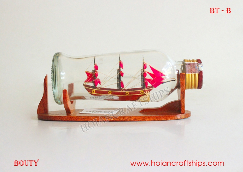 HMS Bounty Ship in Small Bottle (Pink)